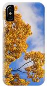 Golden Autumn Leaves And Blue Sky IPhone Case