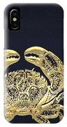 Golden Crab On Charcoal Black IPhone Case