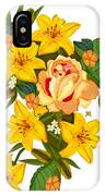 Golden Lily Flowers With Golden Rose IPhone X Case