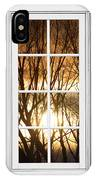 Golden Sun Silhouetted Tree Branches White Window View IPhone Case