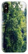 Great Blue Heron Flying Past The Trees Above Trojan Pond 2 IPhone Case