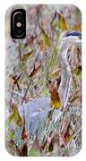 Great Blue Heron In Fall Marsh IPhone Case