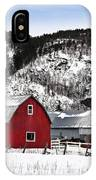 Great Canadian Red Barn In Winter IPhone Case