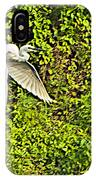 Great Egret Flying Over Rapti River In Chitwan Np-nepal IPhone Case