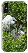 Great Egret With Chicks On The Nest IPhone Case