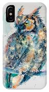 Great Horned Owl In Gold IPhone Case