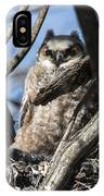 Great Horned Owlet Finishes Lunch IPhone Case