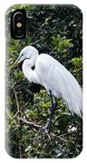 Great White Egret Building A Nest Viii IPhone Case
