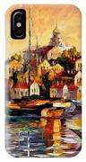 Greek Day - Palette Knife Oil Painting On Canvas By Leonid Afremov IPhone Case