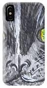 Green Eyes Black Cat IPhone Case