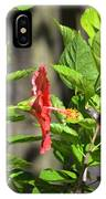 Green Hummingbird On Red Hibiscus Flower 2 Of 10 IPhone Case