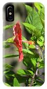 Green Hummingbird On Red Hibiscus Flower 5 Of 10 IPhone Case