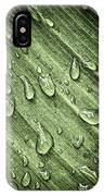Green Leaf Background With Raindrops IPhone Case