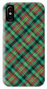 Green Red And Black Diagonal Plaid Textile Background IPhone Case