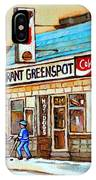 Greenspot Restaurant Notre Dame Street  South West Montreal Paintings Winter Hockey Scenes St. Henri IPhone Case