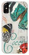 Grey Postcard Butterflies 2 IPhone Case by Debbie DeWitt