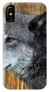 Grey Wolf On Wood IPhone Case