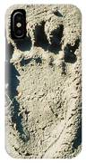 Grizzly Bear Track In Soft Mud. IPhone Case