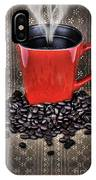 Grunge Red Coffee Mug And Beans IPhone Case