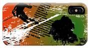 Grunge Winter Background With Skier IPhone X Case
