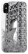 Gw Bridge American Flag In Black And White IPhone Case
