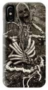 Halloween Green Skeleton Black And White IPhone Case