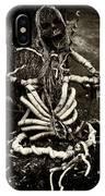 Halloween Green Skeleton Vinette Black And White IPhone Case