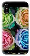 Happy Mothers Day Hugs Kisses And Colorful Rose Spirals IPhone Case