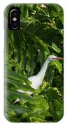 Hawaiian Garden Visitor - A Bright White Egret In The Lush Greenery IPhone Case