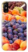 Heap Of Fresh Organic Peaches And Damson Plums  IPhone Case