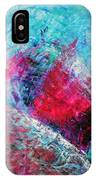 Heart On Ice Abstract Blue Magenta 8x10 Painting Original Contemporary Modern Heart Painting IPhone Case