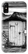Herring Boat Hut Lindisfarne Monochrome IPhone Case