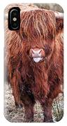 Highland Coo With Tongue Out IPhone Case