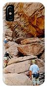Hikers Enter Ladder Canyon From Big Painted Canyons Trail In Mecca Hills-ca  IPhone Case
