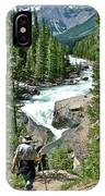Hiking In Mistaya Canyon Along Icefield Parkway In Alberta IPhone Case