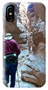 Hiking Through Narrow Slot Of Ladder Canyon Trail In Mecca Hills-ca IPhone Case