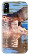 Hippo With Open Mouth In River. Serengeti. Tanzania IPhone Case