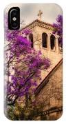Historic Sierra Madre Congregational Church Among The Purple Jacaranda Trees  IPhone Case