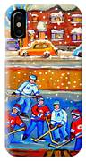 Hockey Art Collectible Cards And Prints Snowy Day  Neighborhood Rinks Verdun Montreal Art C Spandau IPhone Case