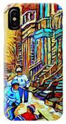 Hockey Art Montreal Winter Scene Winding Staircases Kids Playing Street Hockey Painting  IPhone Case