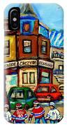Hockey Art Montreal Winter Street Scene Painting Chez Vito Boucherie And Fairmount Bagel IPhone Case