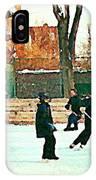 Hockey Art Shimmy Game Local Rink Montreal Paintings Winter Street Scene Verdun Art Carole Spandau IPhone Case