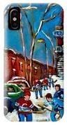 Hockey Game On De Bullion Montreal City Scene IPhone Case
