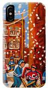 Hockey In The Laneway On Snowy Day Paintings Of Montreal Streets In Winter Carole Spandau IPhone Case