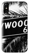 Hollywood Boulevard Street Sign In Black And White IPhone Case