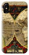 Hondius Map Of The World 1595 IPhone Case