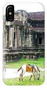 Horse In Front Of Outer Building In Angkor Wat In Angkin Angkor Wat Archeological Park-cambodia IPhone Case