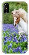 Horse Running By Lupines. Purebred IPhone Case