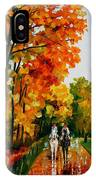 Horseback Stroll - Palette Knife Oil Painting On Canvas By Leonid Afremov IPhone Case
