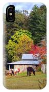 Horses And Barn In The Fall IPhone Case